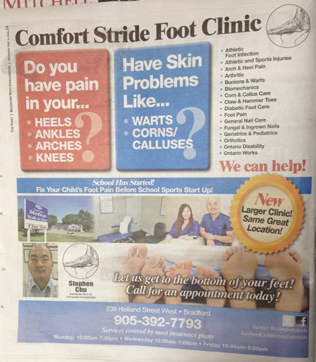 Toronto Foot Clinic Advertising In Local Newspaper